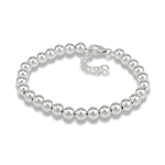 Sterling Silver 6 mm Bead Bracelet With One Inch Extension
