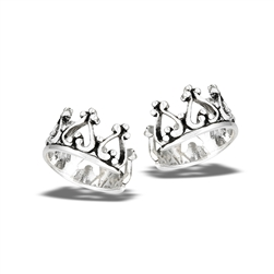 Sterling Silver Crown Earcuff With Bali Granulation