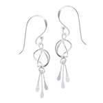 Sterling Silver Wire Triple Dangle Earring
