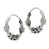 Sterling Silver 3 mm x 14 mm Bali Hoop Earring