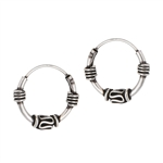 Sterling Silver 3 mm x 13 mm Bali Hoop Earring