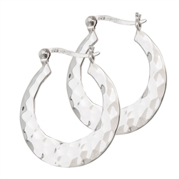 Sterling Silver 5 mm x 30 mm Hammered Hoop Earring