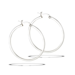 Sterling Silver 2 mm x 40 mm Click Hoop Earring