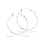 Sterling Silver 2 mm x 50 mm Click Hoop Earring