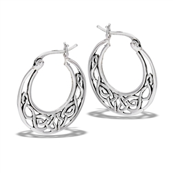 Sterling Silver Celtic Filigree Hoop Earring