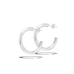 Sterling Silver 4 mm x 30 mm Heavy High Polish Hoop Earring