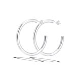 Sterling Silver 4 mm x 42 mm Heavy High Polish Hoop Earring