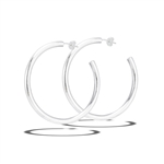 Sterling Silver 4 mm x 50 mm Heavy High Polish Hoop Earring