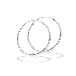 Sterling Silver 1.2 mm x 25 mm Continuous Hoop Earring