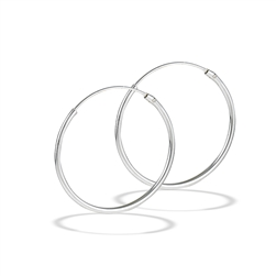 Sterling Silver 1.2 mm x 30 mm Continuous Hoop Earring