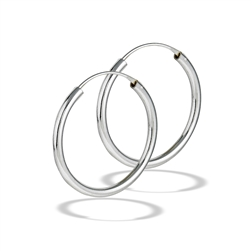 Sterling Silver 2.5 mm x 30 mm Continuous Hoop Earring