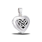 Sterling Silver Heart Locket With Celtic Weave Design
