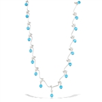 Sterling Silver Squiggle Necklace With Synthetic Blue Tiger's Eye Bead