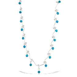Sterling Silver Squiggle Necklace With Synthetic Turquoise Bead