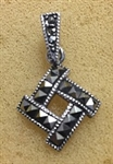 Sterling Silver Marcasite Square Moving Pendant