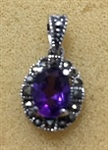 Sterling Silver Classic Marcasite Pendant With Synthetic Amethyst