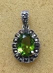 Sterling Silver Classic Marcasite Pendant With Synthetic Peridot