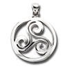 Sterling Silver Celtic Heavy Trisceal Pendant