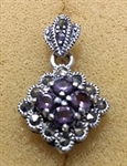 Sterling Silver Marcasite Pendant With Synthetic Amethyst