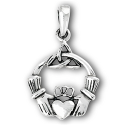 Sterling Silver Celtic Claddagh And Triquetra Pendant
