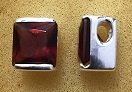 Sterling Silver High Polish Slide Pendant With Synthetic Garnet