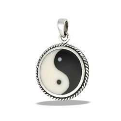 Sterling Silver Classic Yin And Yang Pendant With Braided Bezel