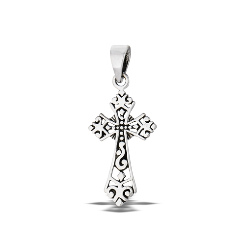 Sterling silver victorian filigree cross pendant aloadofball Image collections