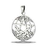 Sterling Silver Celtic Crescent Moon With Pentagram Pendant