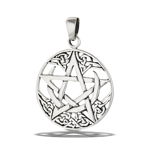 Sterling silver celtic crescent moon with pentagram pendant aloadofball Choice Image