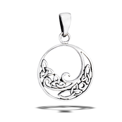 Sterling Silver Celtic Wave With Triquetras Pendant