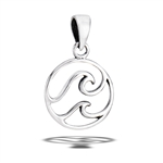 Sterling Silver Double Wave Pendant
