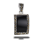 Sterling Silver Marcasite And Synthetic Black Onyx Pendant