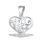 Sterling Silver High Polish Swirled Heart Pendant