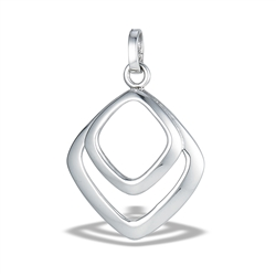 Sterling Silver Modern High Polish Double Diamond Shaped Pendant