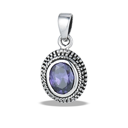 Sterling Silver Bali Style Granulated Oval Pendant With Synthetic Amethyst