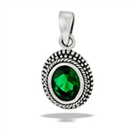 Sterling Silver Bali Style Granulated Oval Pendant With Synthetic Emerald