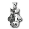 Sterling Silver Marcasite Cat Pendant