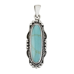 Sterling Silver Southwestern Pendant With Synthetic Turquoise