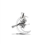 Sterling Silver Witch Flying Across Moon Pendant