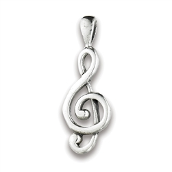 Sterling Silver Clef Note Pendant