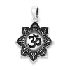 Sterling Silver Tibetan OM in Lotus Pendant