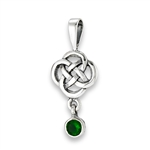 Sterling Silver Celtic Knot Pendant With Synthetic Emerald