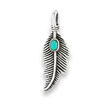Sterling Silver Feather Pendant With Synthetic Turquoise