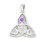 Sterling Silver Celtic Triquetra with Pentagram, Synthetic Amethyst and Celestial Design Pendant