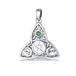 Sterling Silver Celtic Triquetra with Pentagram, Synthetic Emerald and Celestial Design Pendant