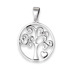 Sterling Silver Swirled Tree Of Life Pendant With Heart