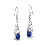 Sterling Silver Celtic Earring With Synthetic Lapis