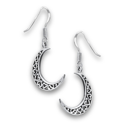Sterling Silver Heart Half Moon Earring
