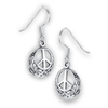 Sterling Silver Peace Sign Celtic Earring