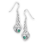 Sterling Silver Claddagh Earring With Synthetic Emerald